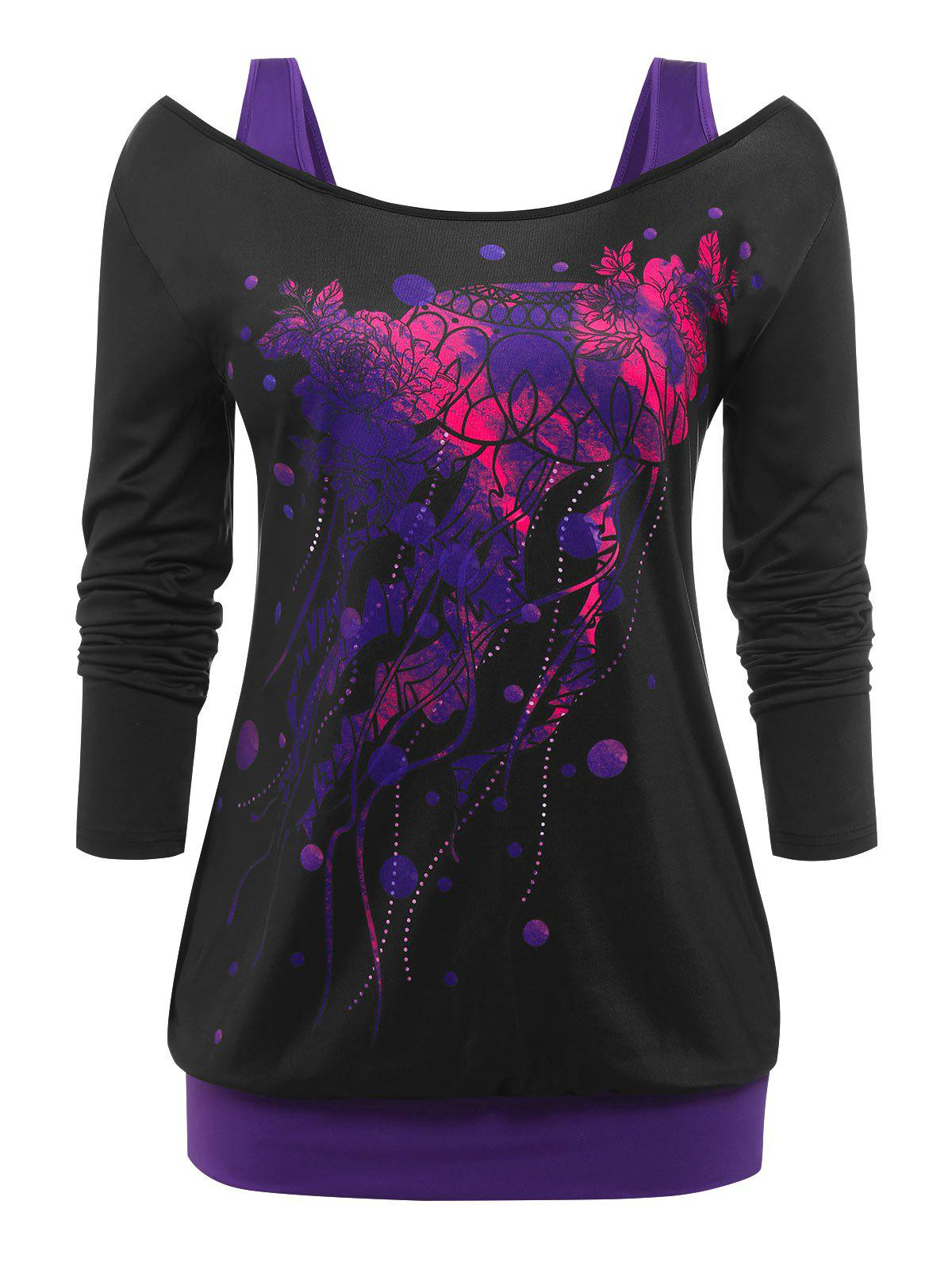 Outfit Plus Size Printed Cutout 2 in 1 Tee
