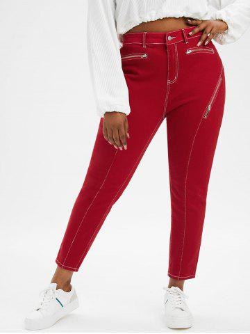 Topstitching Zippered Front Plus Size Skinny Jeans - RED - 2X
