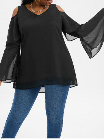 Plus Size Layered Bell Sleeve Open Shoulder High Low Top - BLACK - 5X