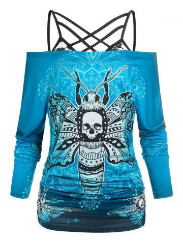 Off The Shoulder Skull Butterfly Print Halloween Tee and Lace Strappy Camisole