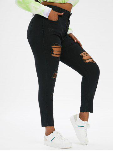 Plus Size Ripped Frayed Skinny Jeans - BLACK - 2X