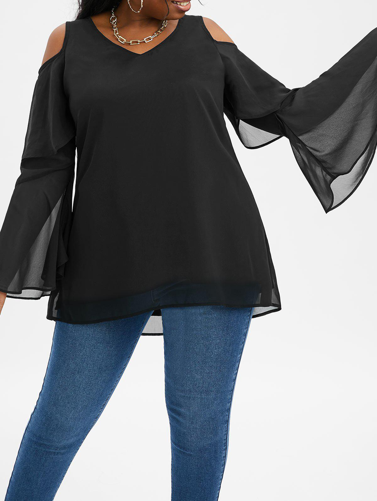 Discount Plus Size Layered Bell Sleeve Open Shoulder High Low Top