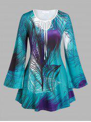 Plus Size Feather Print Bell Sleeve T-shirt -