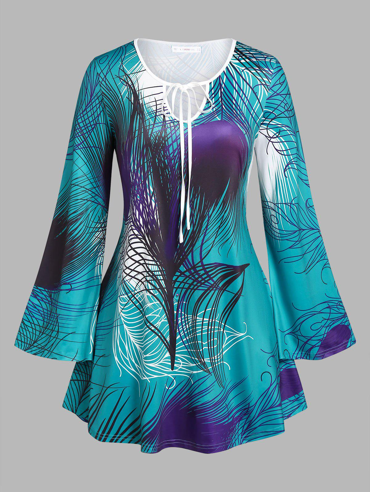 Fashion Plus Size Feather Print Bell Sleeve T-shirt