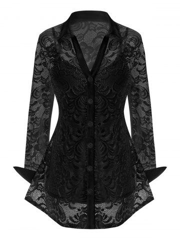 Plus Size Lace Flower Sheer Blouse with Cami Top Set - BLACK - 5X