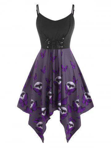 Plus Size Lace Up Butterfly Skull Halloween Cami Dress - PURPLE - 4X
