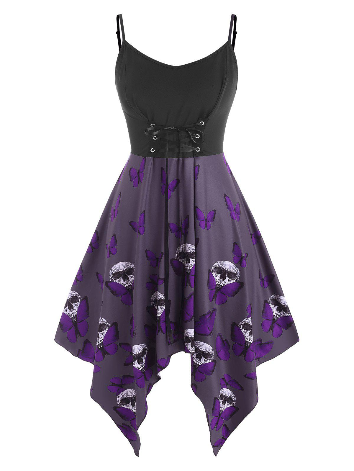 Affordable Plus Size Lace Up Butterfly Skull Halloween Cami Dress