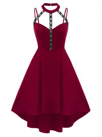 Plus Size Harness Cutout High Low Gothic Dress - DEEP RED - 3X