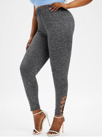 Plus Size Heather Ladder Cut Ring Embellished Pants - GRAY - 4X