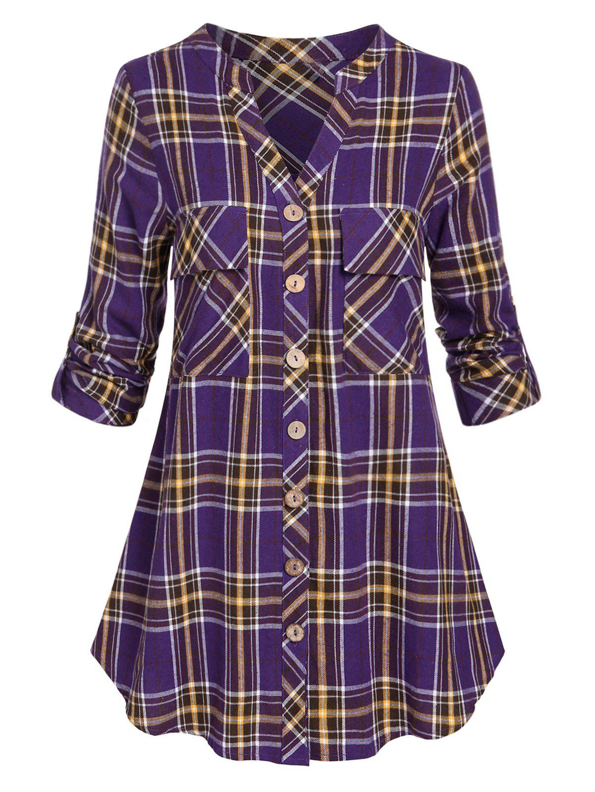 Best Plus Size Roll Up Sleeve Pockets Plaid Shirt