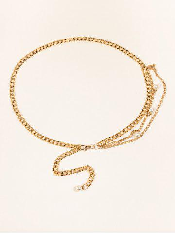 Faux Pearl Embellished Layered Chain Belt