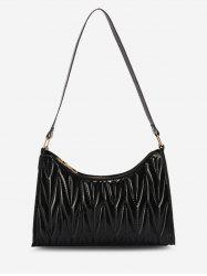 Faux Leather Quilted Shoulder Bag -