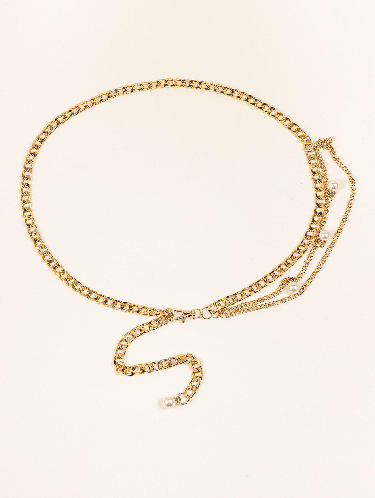 Affordable Faux Pearl Embellished Layered Chain Belt