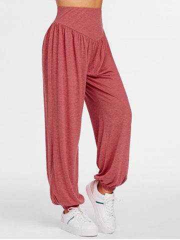 Heathered High Waisted Jogger Pants - RED - L