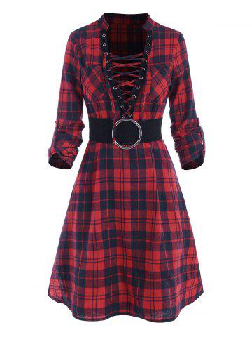 Plaid Lace Up Plunging Neck Dress - RED - XXL