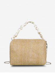 Ruched Handle Woven Crossbody Bag -