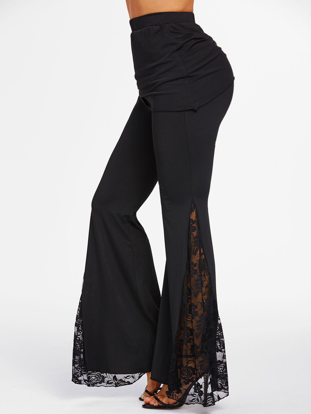Fancy Flower Lace Insert Cinched Skirted Flare Pants