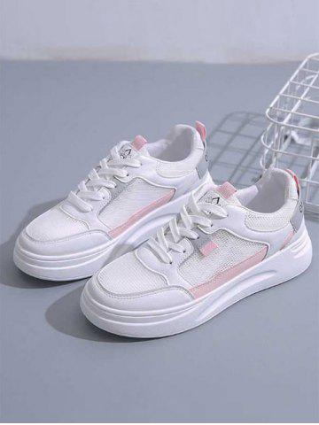 Colorblock Lace-Up Mesh Sneakers