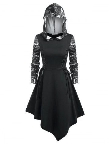 Lace Up Star Print Hooded Dress
