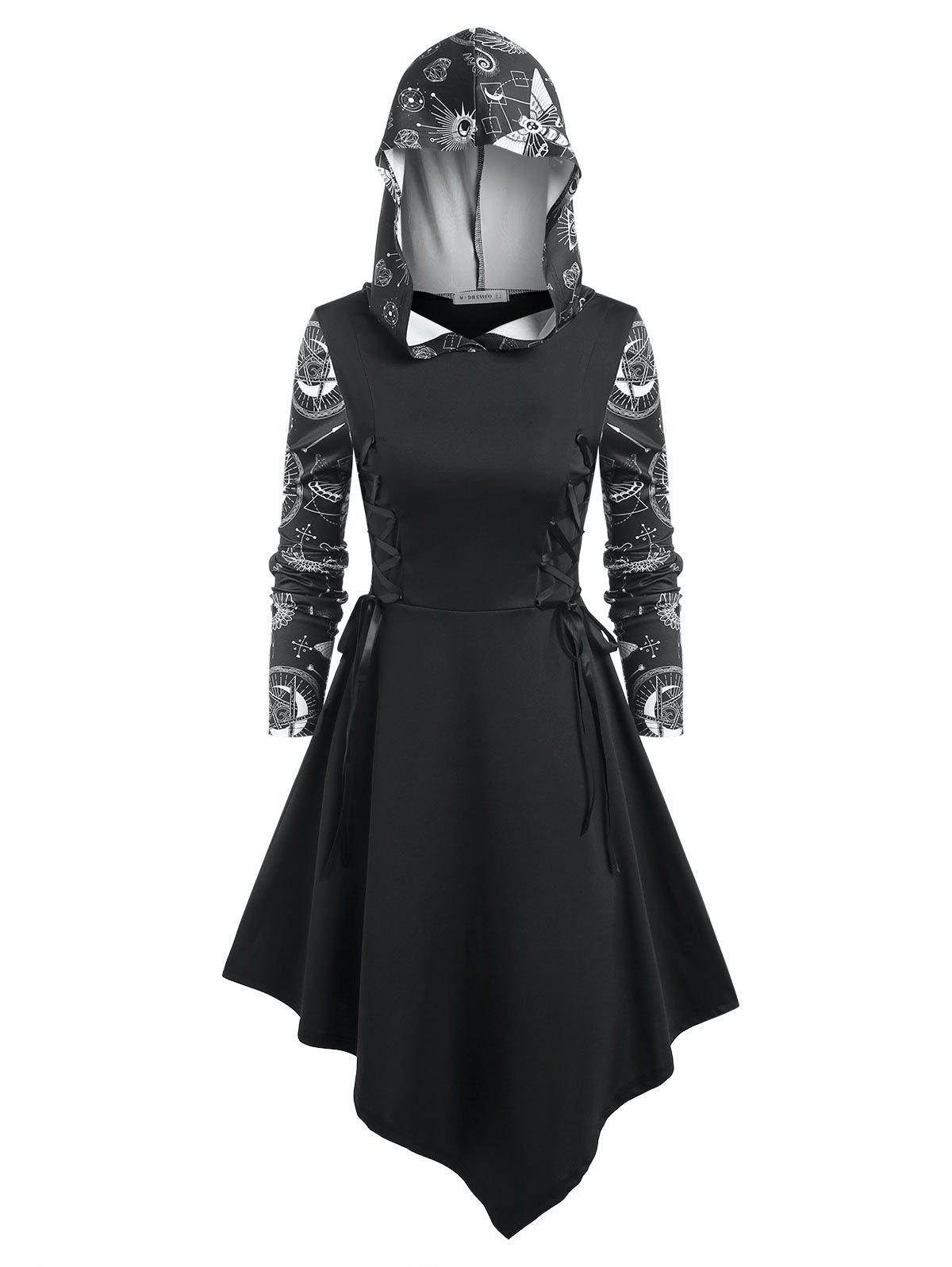 Unique Lace Up Star Print Hooded Dress
