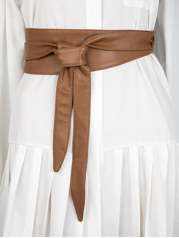 Knotted PU Leather Sash Belt - LIGHT BROWN