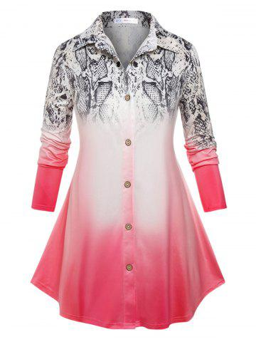 Plus Size Ombre Snake Print Button Up Tunic Shirt - LIGHT PINK - 5X