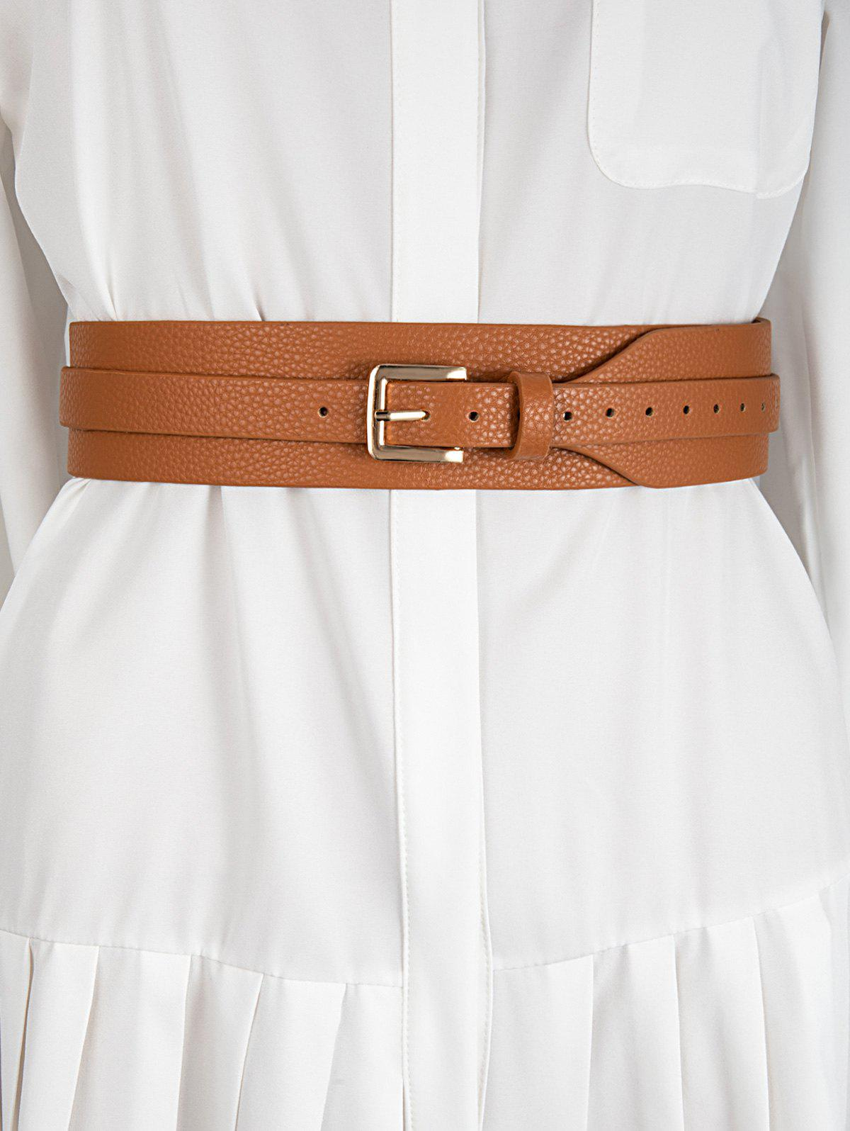 Discount Wide PU Leather Pin Buckle Belt