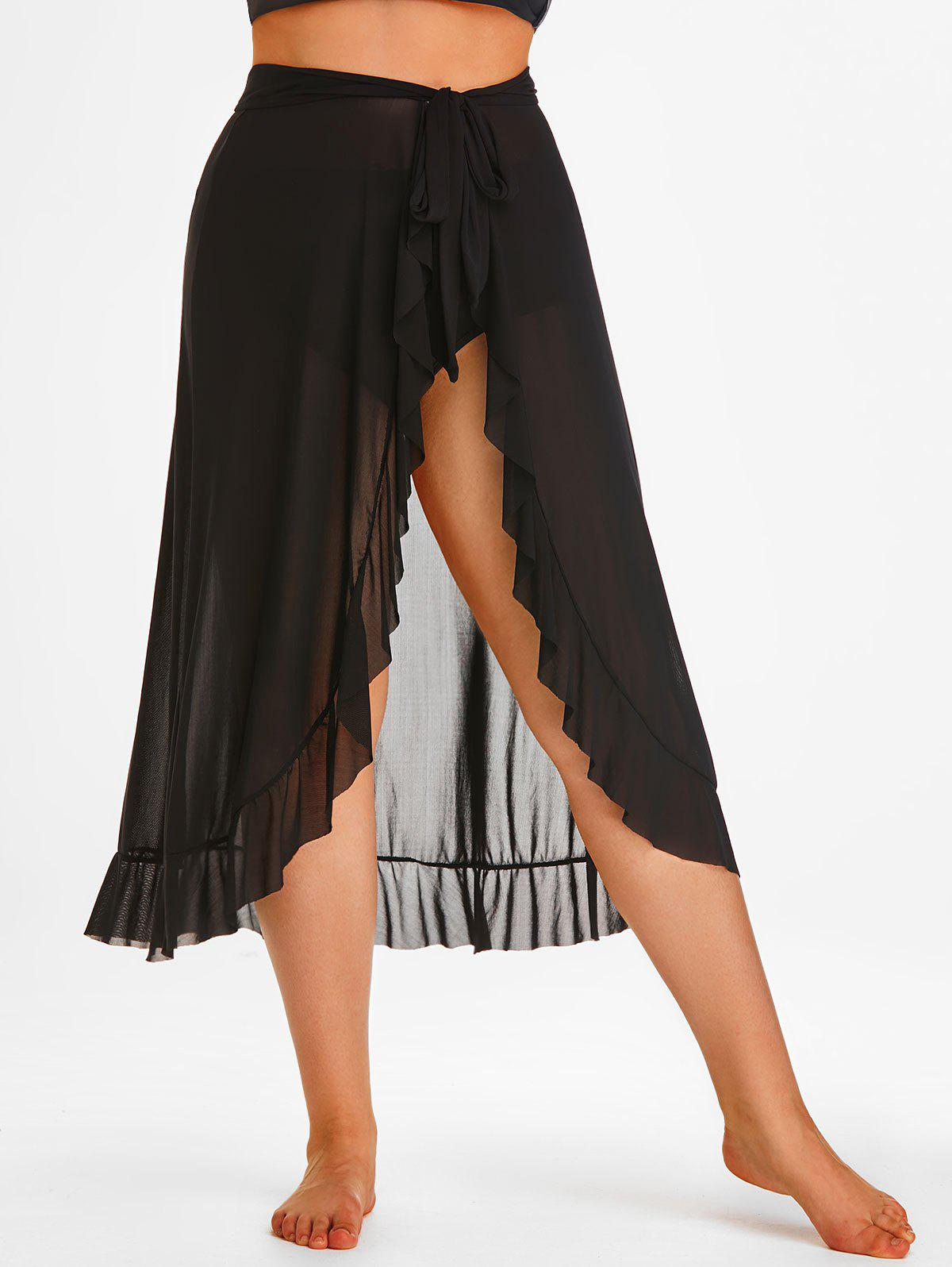 New Plus Size Self-tie Ruffle Mesh Sarong with Briefs