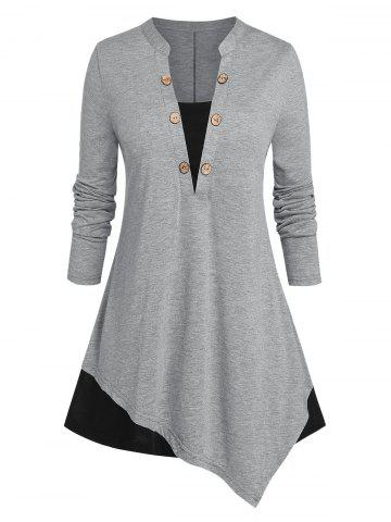 Plus Size Asymmetric Two Tone Buttoned Jersey Tee