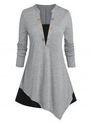 Plus Size Asymmetric Two Tone Buttoned Jersey Tee -