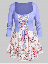 Plus Size Floral Print Lace Up 2 in 1 T-shirt -