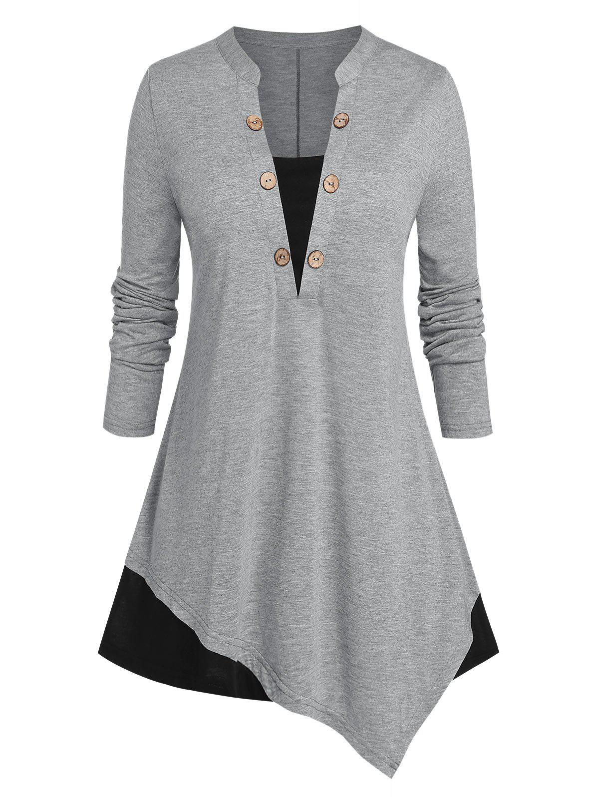 Discount Plus Size Asymmetric Two Tone Buttoned Jersey Tee