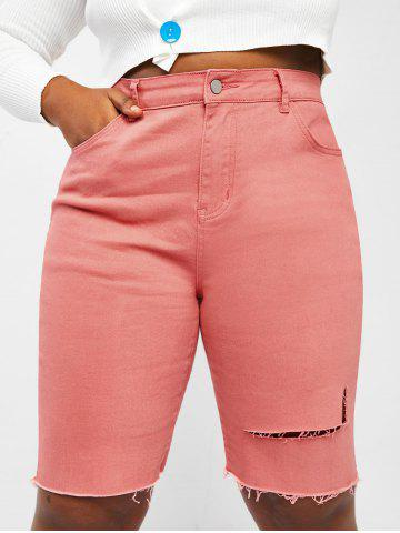 Plus Size Ripped Colored Denim Shorts