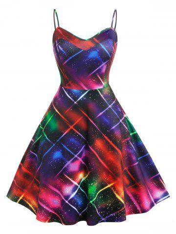 Plus Size Colorful Print Fit and Flare Dress