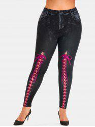 Plus Size 3D Lace-up Print High Waisted Jeggings -