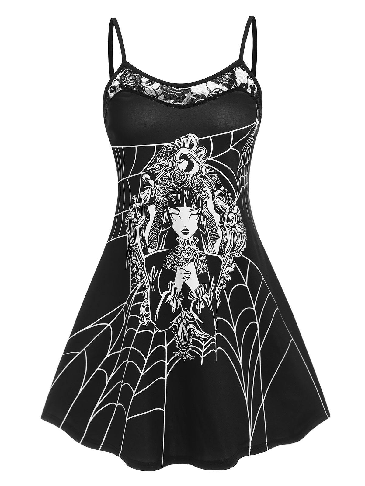 Outfit Lady Print Lace Insert Cami Dress