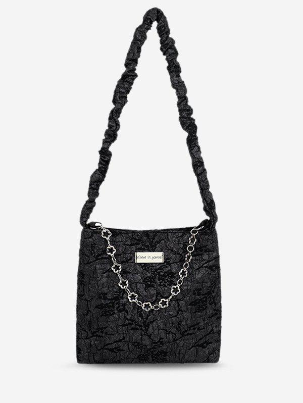 Outfit Crinkle Flower Shape Chain Patch Shoulder Bag