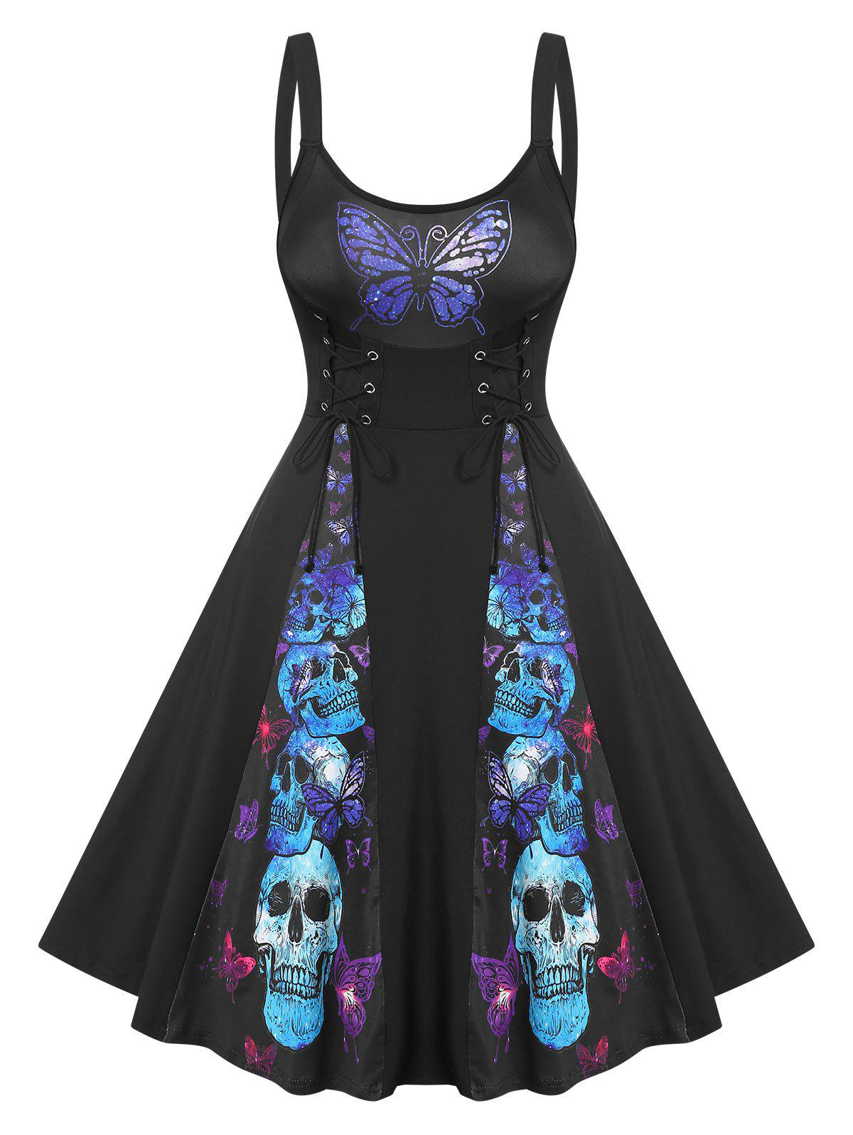 Outfits Butterfly Skull Pattern Lace Up Dress