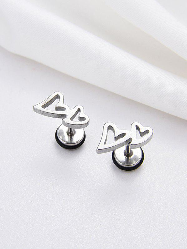 Affordable Stainless Steel Double Heart Stud Earrings
