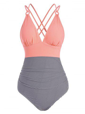 Striped Ruched Crisscross Back Ring One-piece Swimsuit - LIGHT PINK - XL