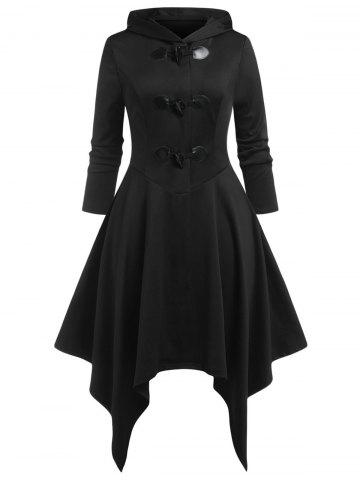 Plus Size Claw Button Hooded Handkerchief Coat - BLACK - 5X