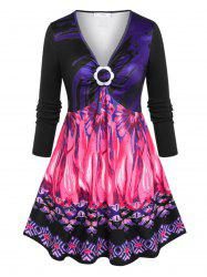 Plus Size Flower Ring Printed Skirted Tunic T-shirt -