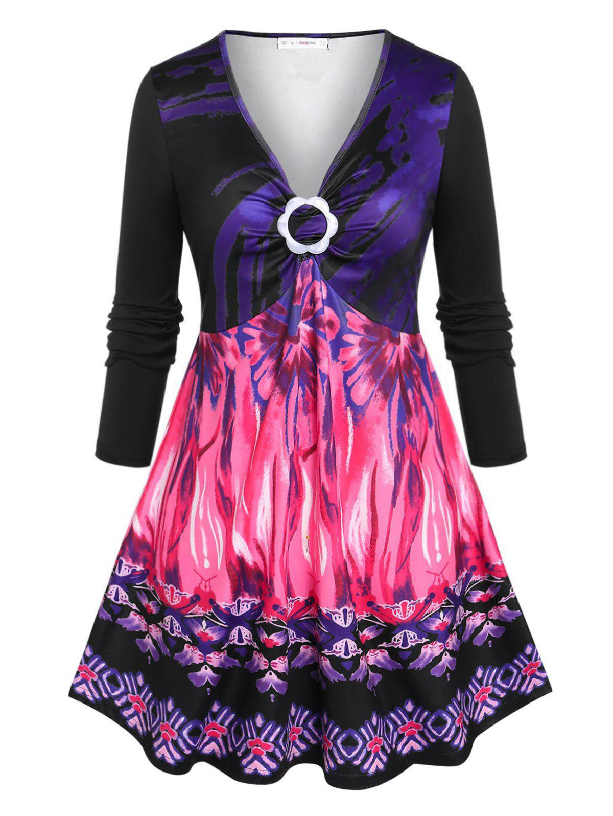 Trendy Plus Size Flower Ring Printed Skirted Tunic T-shirt