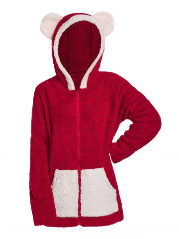 Plus Size Colorblock Hooded Fuzzy Faux Fur Coat - DEEP RED - 5X