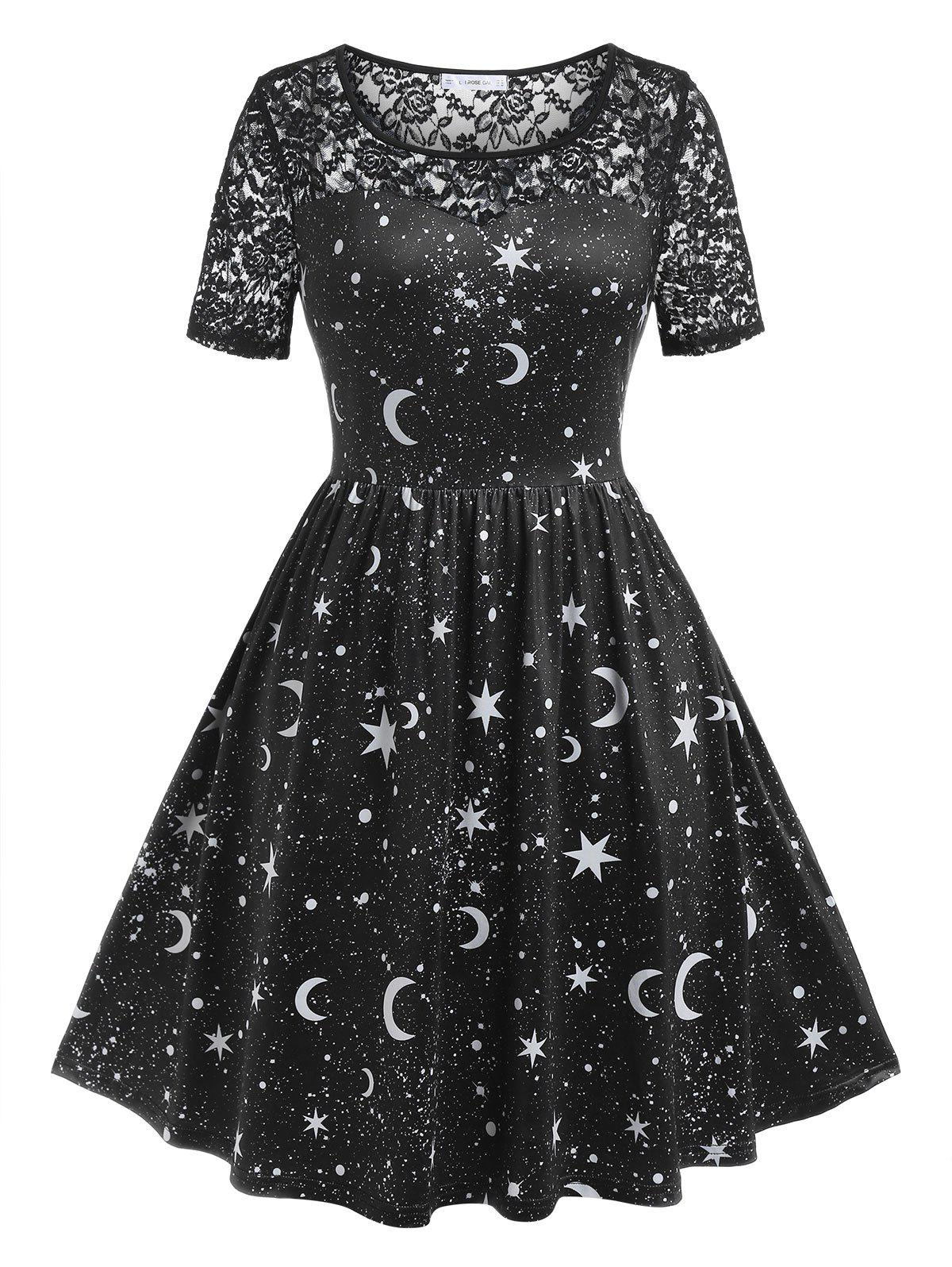 Affordable Plus Size Starry Star Print Lace Panel Dress