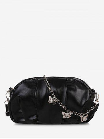 Double Strap Butterfly Detail Ruched Crossbody Bag