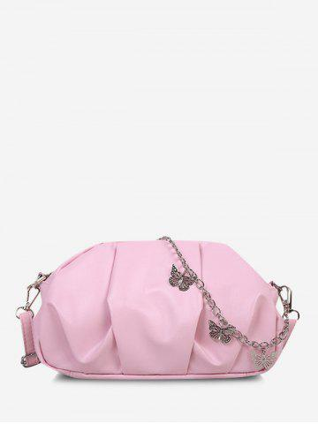 Double Strap Butterfly Detail Ruched Crossbody Bag - PINK