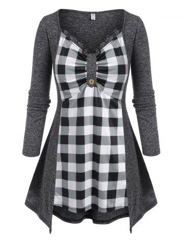 Plus Size Plaid Space Dye Frilled Ruched Bust Tee - GRAY - 2X