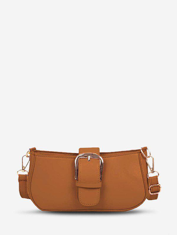 Trendy Faux Leather Buckle Embellished Crossbody Bag