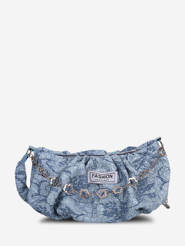 Affordable Crease Print Floral Chain Crossbody Bag